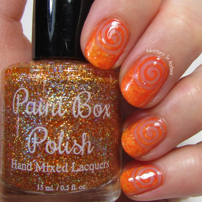Orange Saran Wrap Negative Space Swirl Nail Art 2