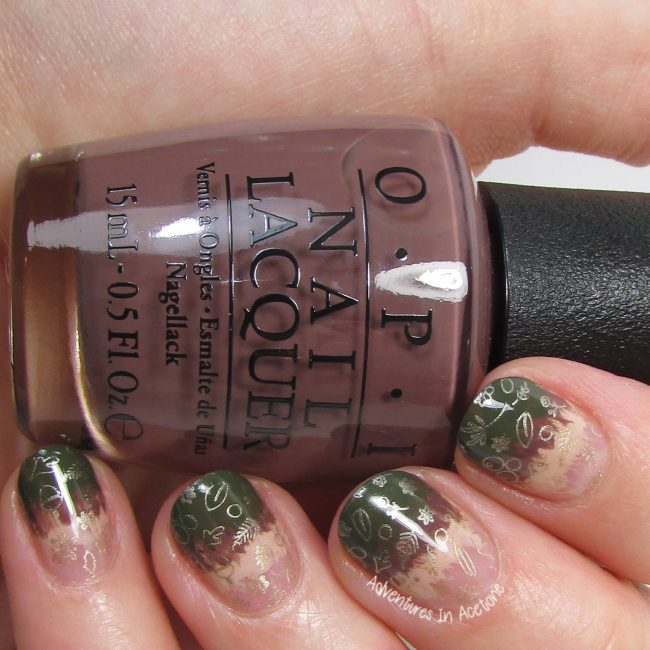 Rustic Autumn Gradient Stamping Nail Art 1-001