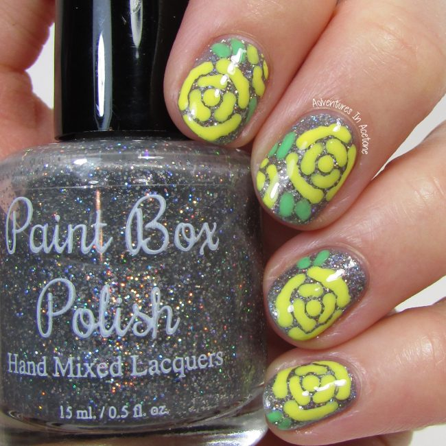 Yellow Roses Nail Art 1