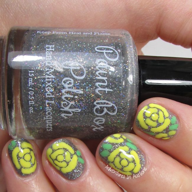 Yellow Roses Nail Art 2-001
