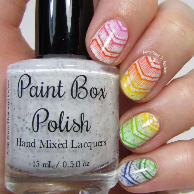 Rainbow Chevron Nail Art 1